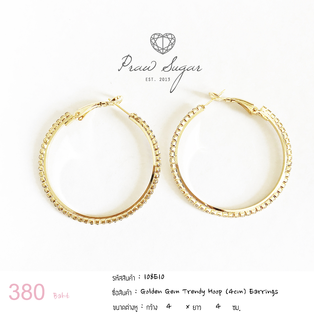 Golden Gem Trendy Hoop (4cm) Earrings