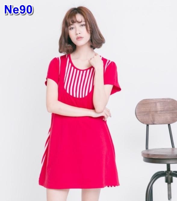 #สินค้ามาใหม่จร้า #เสื้อคลุมท้องแฟชั่น เปิดให้นม ผ้ายืดสี คอกลมแขสั้น เย็บติดเอี้ยมสีแดง + ชุดเด็กน้อย 3-5 เดือน ชุดน่ารัก ผ้านิ่มใส่สบาย ให้นมหลังคลอดได้เลยจร้า