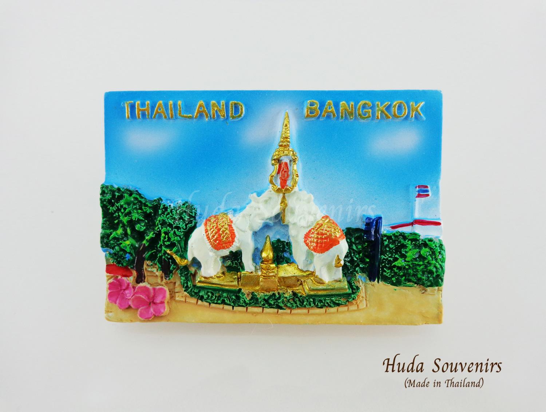 ของที่ระลึกไทย แม่เหล็กติดตู้เย็น ลวดลายช้างคู่ วัสดุเรซิ่น ชิ้นงานปั้มลายเนื้อนูน ลงสีสวยงาม