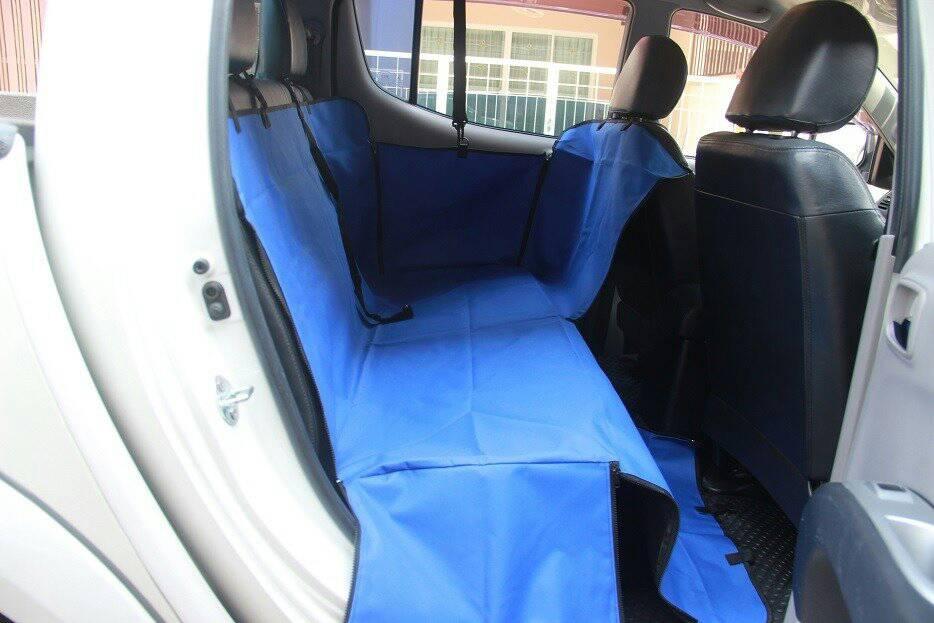 ที่รองเบาะรถยนต์สำหรับสุนัข ด้านหลัง 2 ที่นั่ง 2 in 1 พื้นสีน้ำเงิน