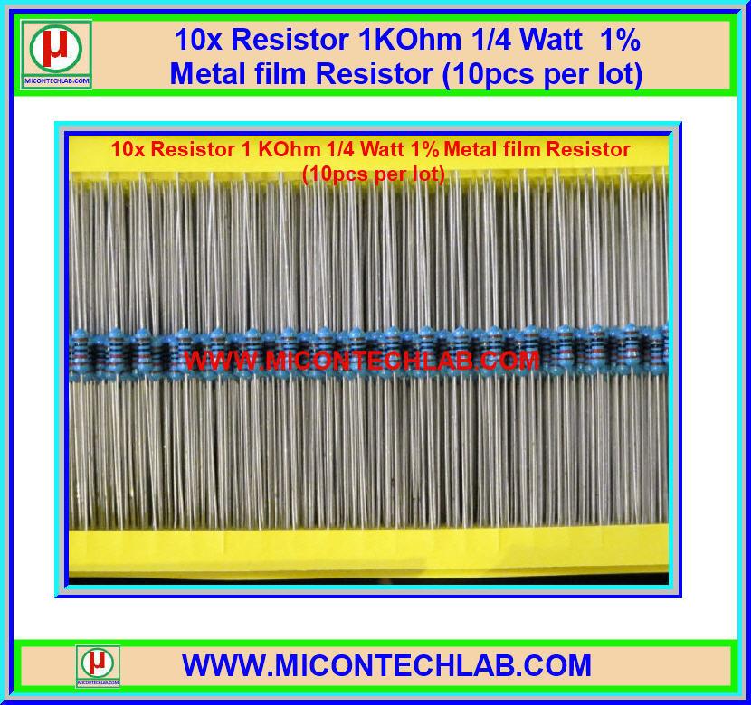 10x Resistor 1 KOhm 1/4 Watt 1% Metal film Resistor (10pcs per lot)