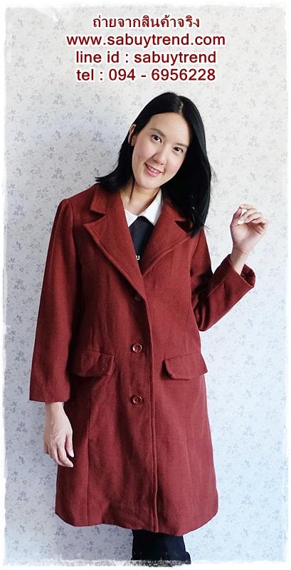 ((ขายแล้วครับ))((จองแล้วครับ))ca-2540 เสื้อโค้ทกันหนาวผ้าถักสีเลือดหมู รอบอก38