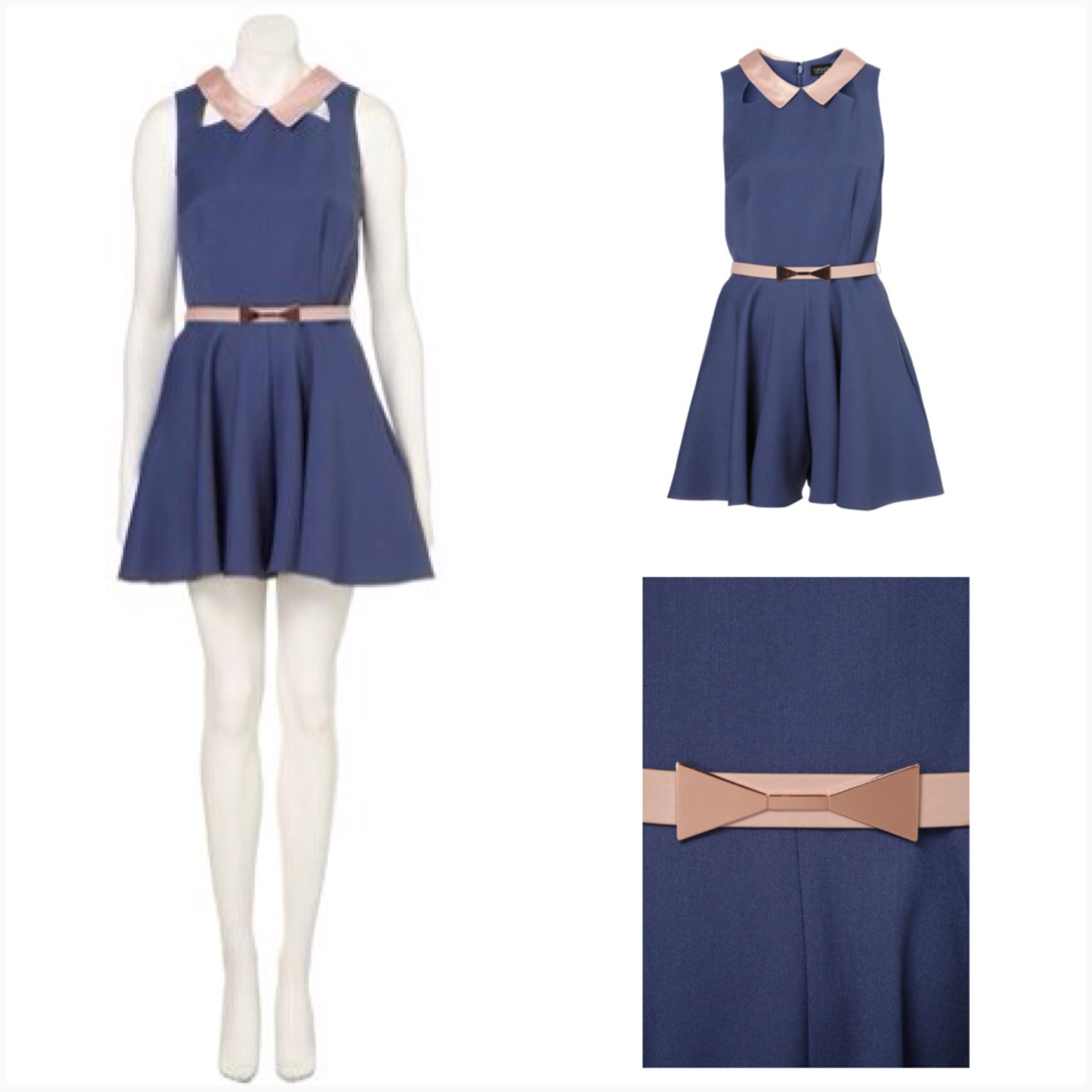 Topshosp Blue and Pink with belt Playsuit size uk10