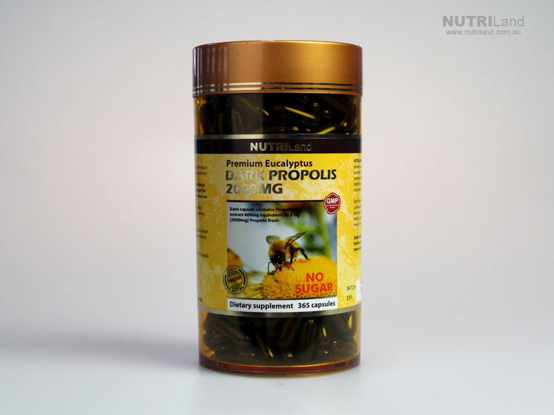 Nutriland Premium Eucalyptus Dark Propolis 2000 mg. ดาร์กพรอพอลิส สูตรไม่มีน้ำตาล จำนวน 365 แคปซูล ส่งฟรี ems