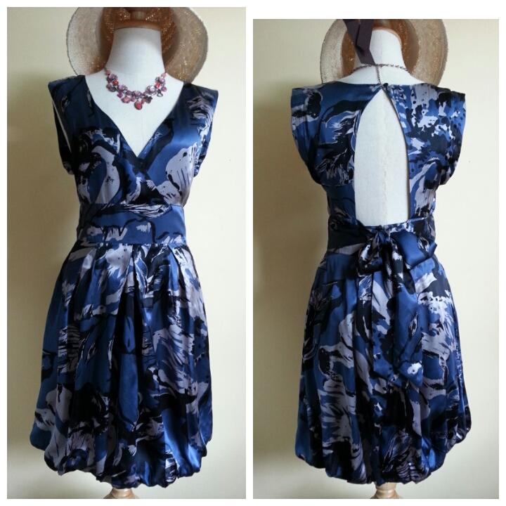 Warehouse Navy Silk Dress Size uk 10