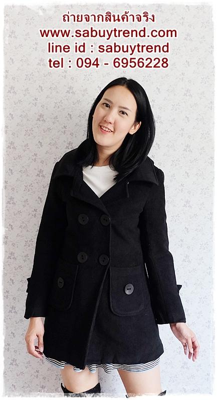 ((ขายแล้วครับ))((คุณอาภาภรณ์จองครับ))ca-2678 เสื้อโค้ทกันหนาวผ้าวูลสีดำ รอบอก34